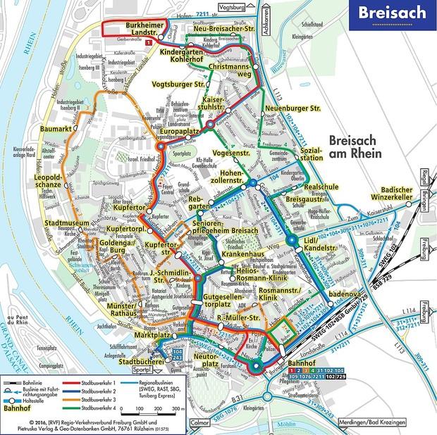 Liniennetzplan Breisacher Innenstadt © Stadt Breisach am Rhein